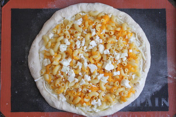 Three Cheese Macaroni and Cheese Pizza!! Bringing together two things that we love: macaroni and cheese and pizza!!!