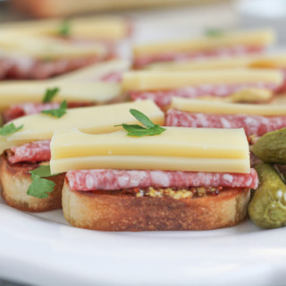 Salami and Emmentaler Cheese Crostini with Maille Dijon Mustard + a Giveaway!!
