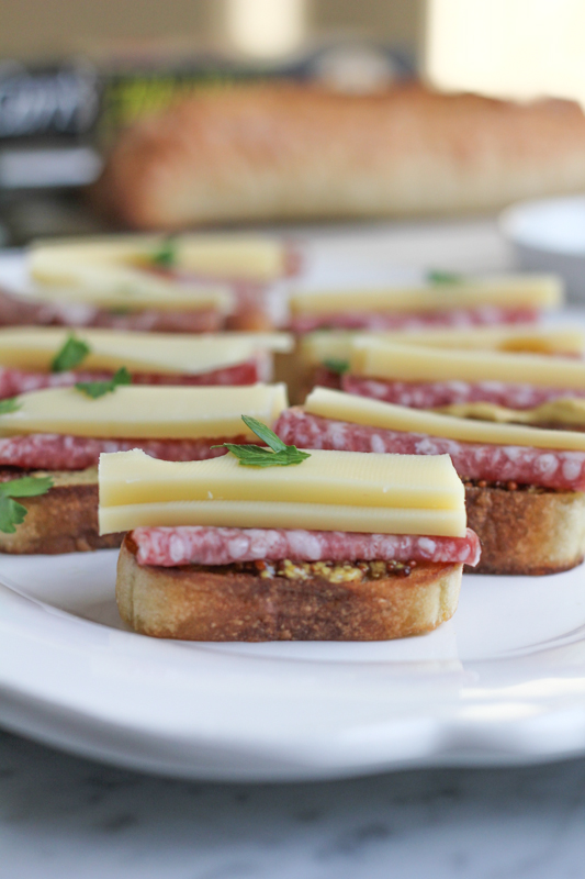 Salami Crostini with Gruyere and Maille Dijon Mustard_vertical | HipFoodieMom.com
