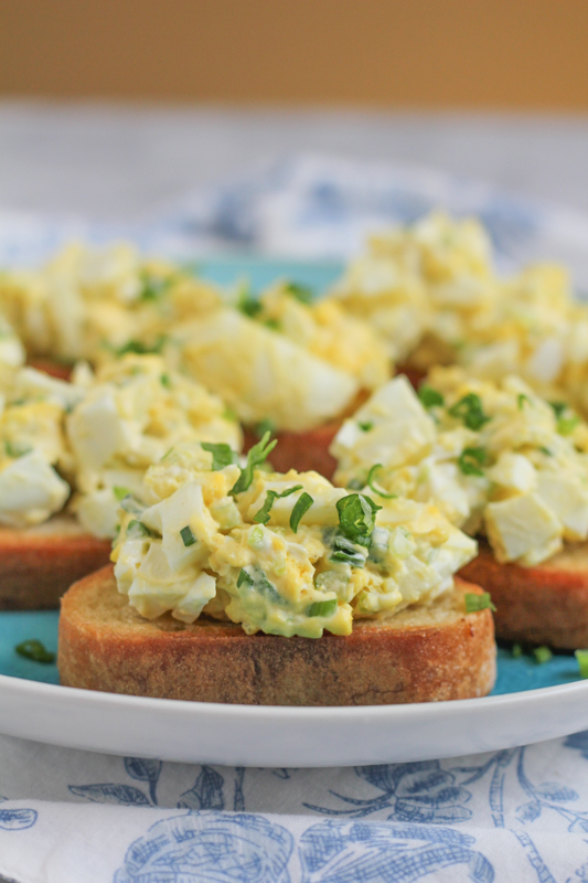 Deviled Egg Crostini for SafeEggs! Deviled Egg Salad on top of toasted bread, what could be better? Use up all those dyed eggs from Easter and make egg salad!