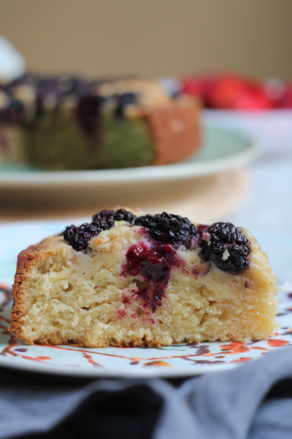 Wow family and friends with this Blackberry Almond Cake. So EASY to make and delicious! #baking #cake