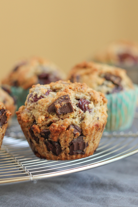 Packed with juicy cherries and chocolate chunks, these Cherry Chocolate Hazelnut Muffins are so yummy!!