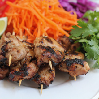 Chicken Satay with Spicy Peanut Sauce for #SundaySupper