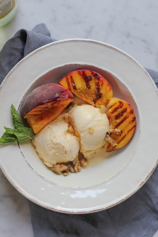 Ice Cream with Grilled Peaches!! Throw some peaches on the grill ...