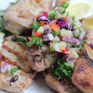 Grilled Pork Chops On A Stick with Pineapple Salsa