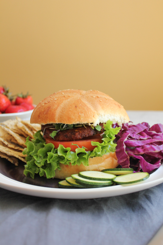 MorningStar Farms Spicy Black Bean Burger with bun by Hip Foodie Mom
