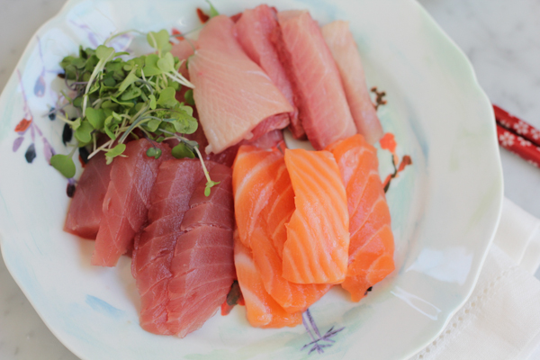 Sashimi on Plate by Hip Foodie Mom
