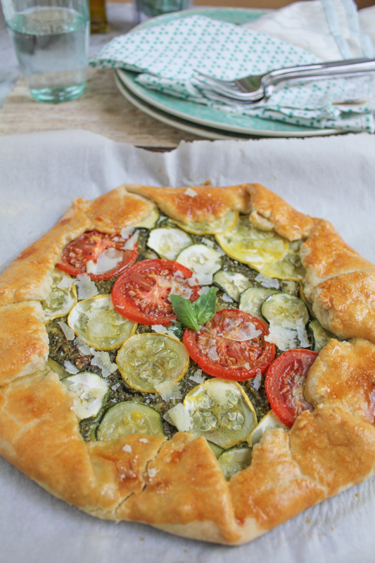 Summer Vegetable Galette with Pesto by Hip Foodie Mom