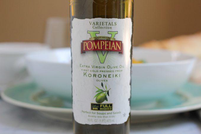 A bottle of olive oil for Summer Caprese pasta salad.