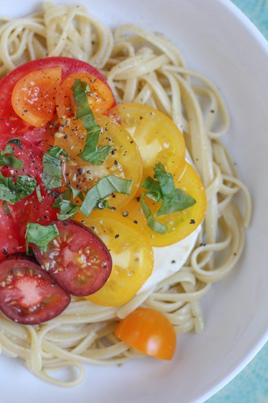 A bowl of Summer Caprese pasta salad.