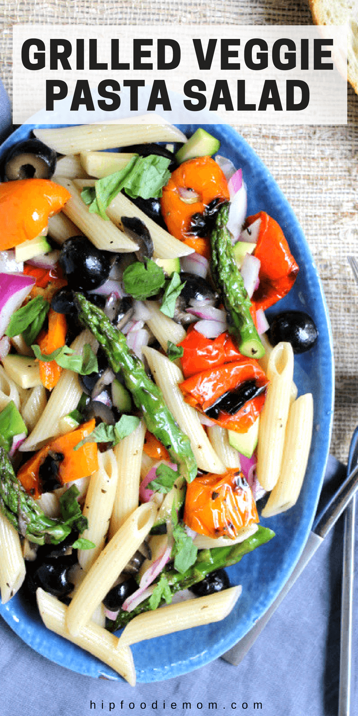 Use up those leftover grilled veggies and make this absolutely delicious Grilled Veggie Pasta Salad!! This would make a great side dish! #grilledveggies #grilling #pastasalad #vegetarian #sidedish #potluck #bbq #dinner #lunch
