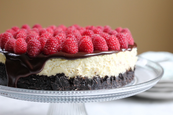 Raspberry Cheesecake with Oreo Crust by Hip Foodie Mom