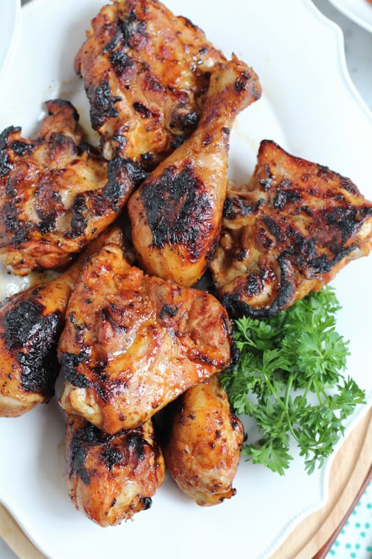 Spicy Korean Grilled Chicken on a serving tray.
