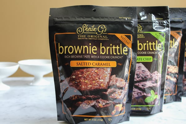 Bags of brownie brittle for Strawberry Cheesecake Brownie Brittle Ice Cream.