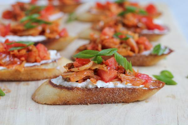 Kimchi Bruschetta by Hip Foodie Mom
