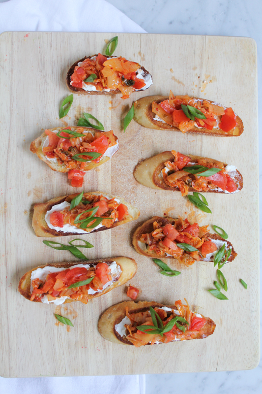 Kimchi Bruschetta from Hip Foodie Mom