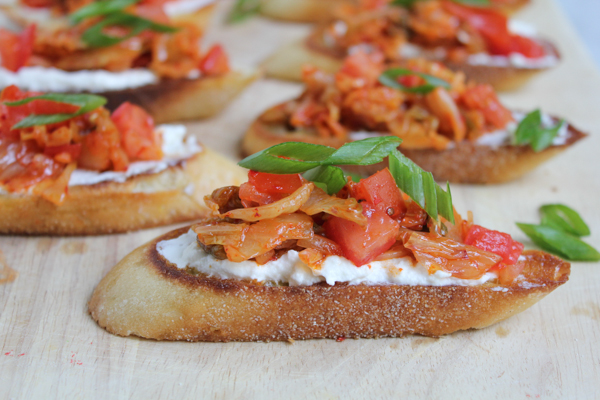 Kimchi Bruschetta_up close by Hip Foodie Mom