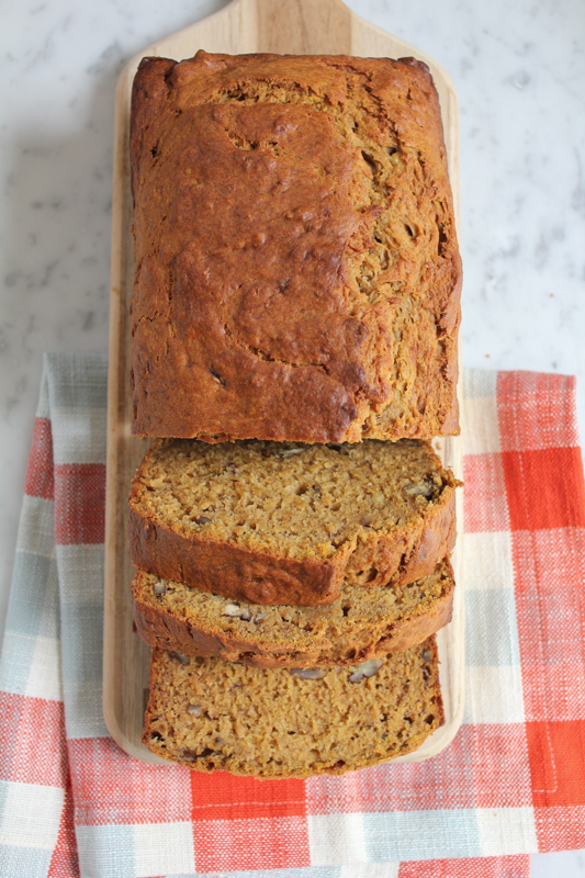 The Pumpkin Banana Bread You Have To Try!!! Banana bread with a hint of pumpkin, cinnamon, ginger, nutmeg and cloves! This might become your favorite bread to bake in the fall! So delicious!