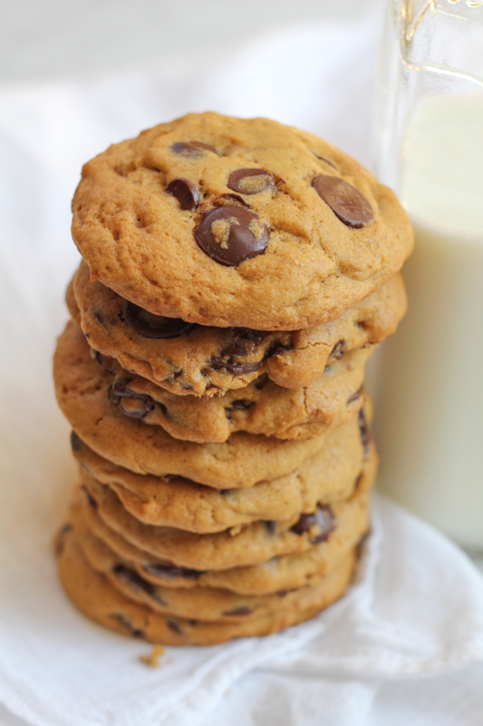 Pumpkin Peanut Butter Chocolate Chip Cookies_stack