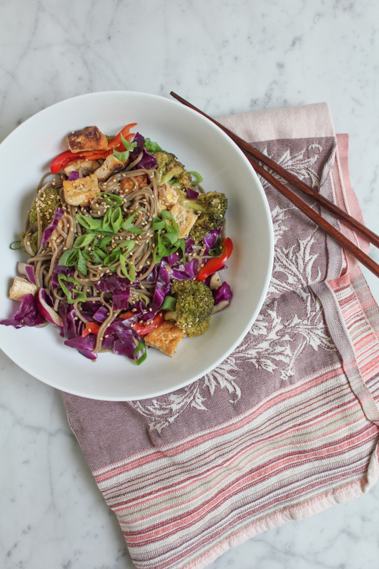 Quick and Easy Soba Noodle Salad Bowl. Dinner in under 30 minutes!