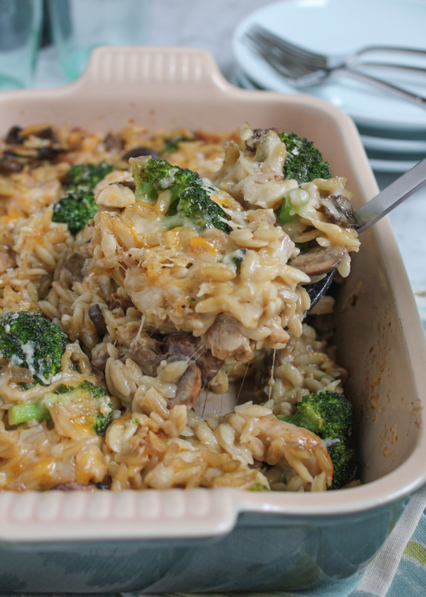Three Cheese Chicken Broccoli and Orzo Casserole!! Cheesy, flavorful ...