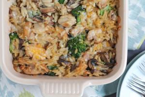 Three Cheese Chicken Broccoli and Orzo Casserole