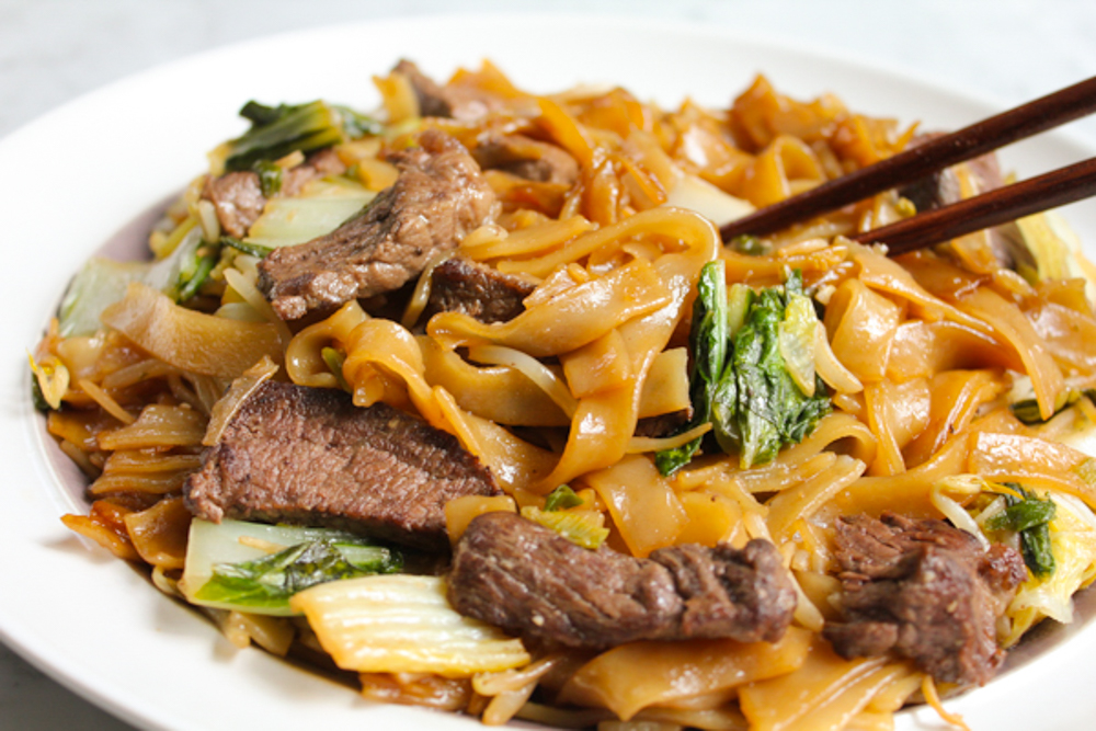Quick easy beef chow fun with boneless short rib hip foodie mom wide rice noodles and vegetables this delicious chinese food dish will come together in no time at all skip the take out and try cooking chinese food forumfinder Images