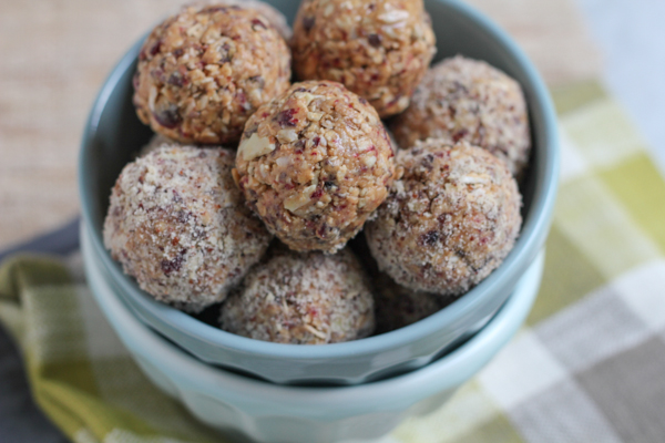 No Bake Mighty Maple Energy Bites. . packed with almonds, dried cranberries, flax seed, sunflower nuts and much more, these are just the burst of energy you will need to keep you going throughout the day!