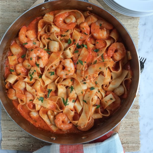 Seafood Pappardelle in a pan.