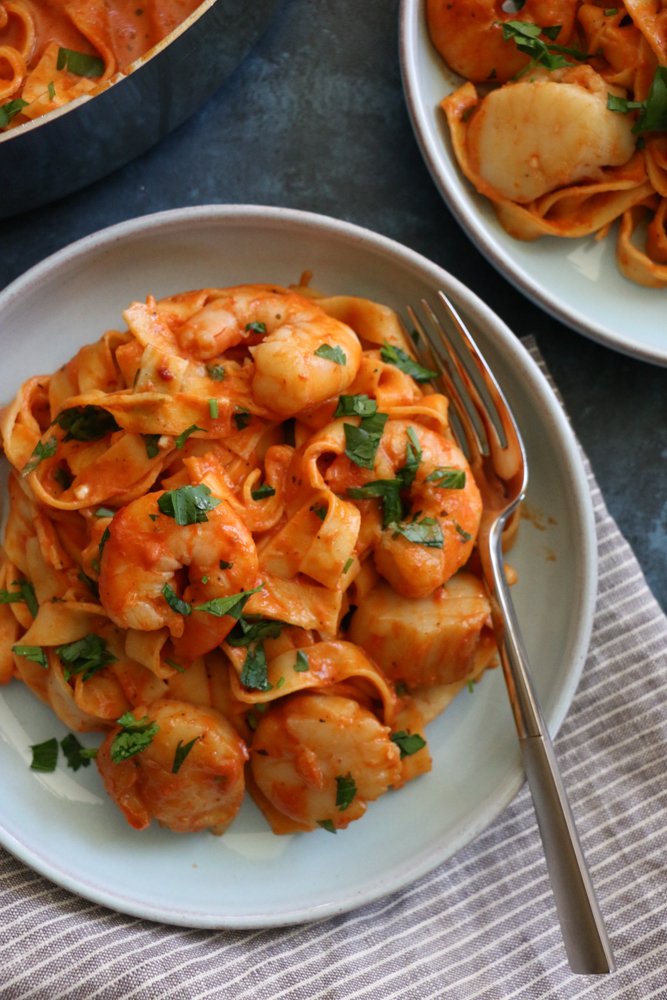 Bowls of Seafood Pappardelle.