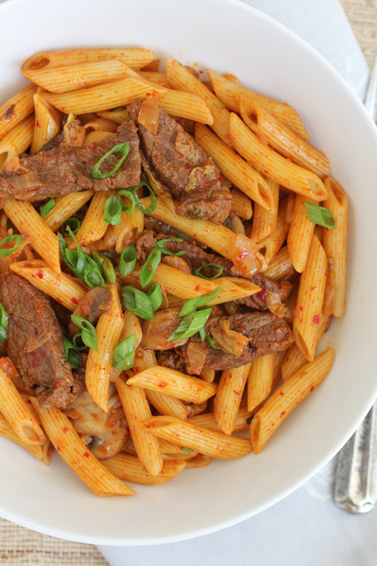 ... Spicy Korean Penne Pasta with Beef. #koreanfood #kimchi #pasta #penne