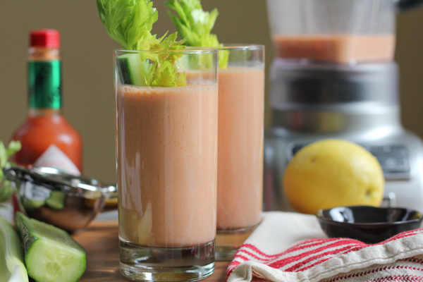 Taking on the Weird, Wild, and Crazy Smoothie Week Challenge, I made Bloody Mary Smoothies! What better way to incorporate more vegetables into your morning routine?