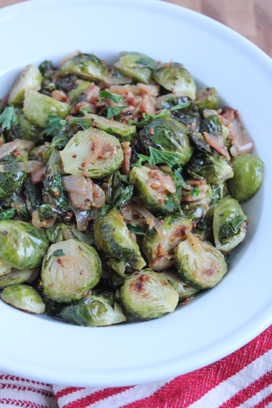 Roasted Brussels Sprouts with White Wine Shallot Sauce - Hip Foodie ...