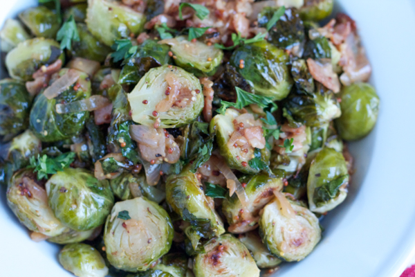 Roasted Brussels Sprouts with White Wine Shallot and Whole Grain Dijon ...