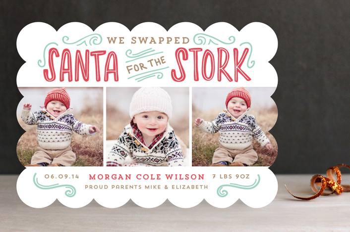 """Santa for the Stork"" from Minted.com  + Enter to win a $50 gift code for the holidays! #giveaway #holidays #minted #holidaycards"