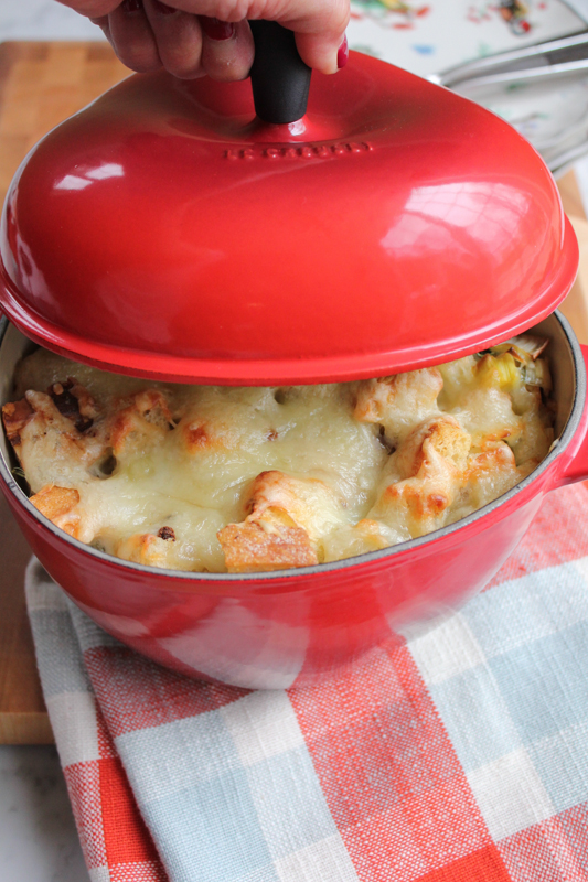 Leek and Artichoke Bread Pudding with grated Emmentaler Swiss cheese! A great alternative to stuffing for Thanksgiving this year!