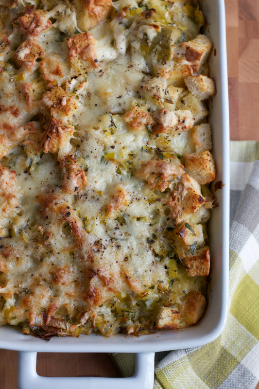Leek and Artichoke Bread Pudding. This dish is unforgettable.
