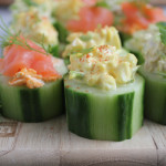 Quick and easy cucumber bites!! Three ways: smoked salmon, egg salad and tuna salad! Great party appetizer!