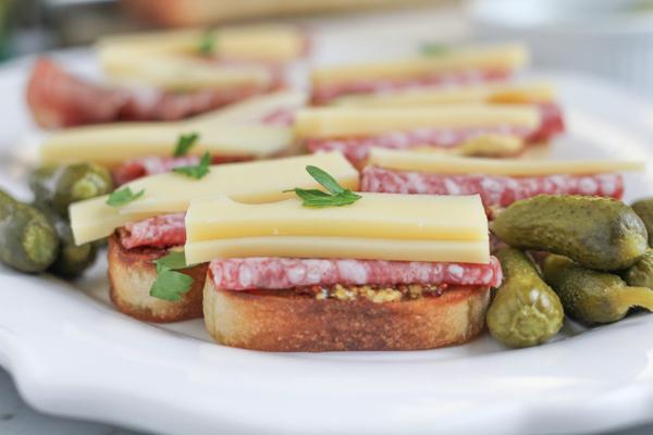 Salami Crostini with Gruyere and Maille Dijon Mustard #appetizer #appetizerrecipe #recipe #newyearseve