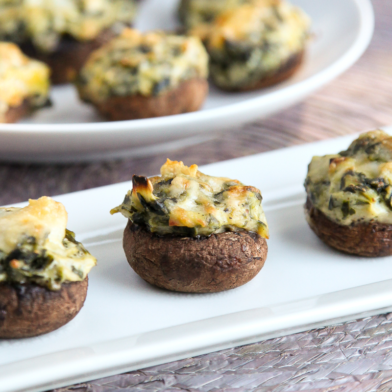 Delicious Spinach Artichoke Dip Stuffed Mushrooms #appetizer #appetizerrecipe #recipe #newyearseve