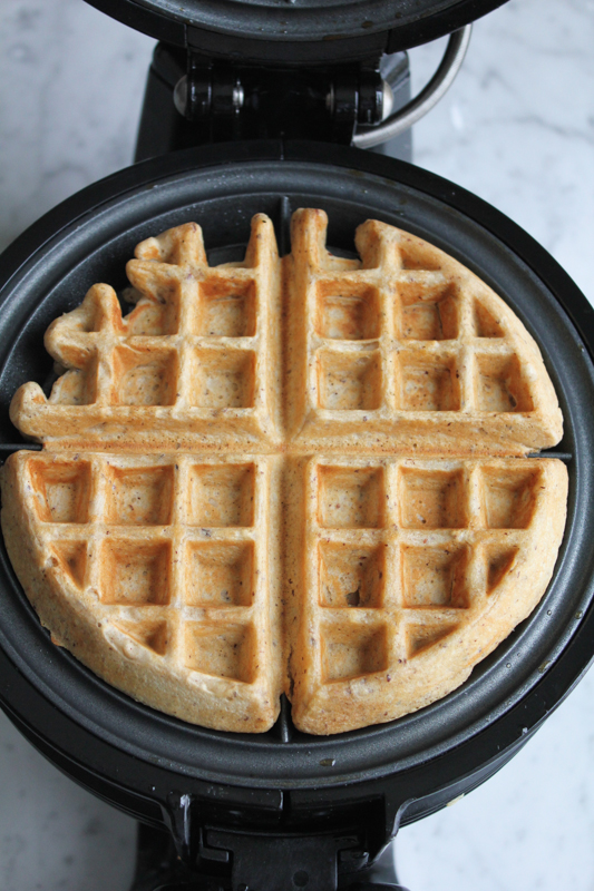 Wheat Hazelnut Waffles with Cinnamon Sautéed Apples. Homemade waffles ...
