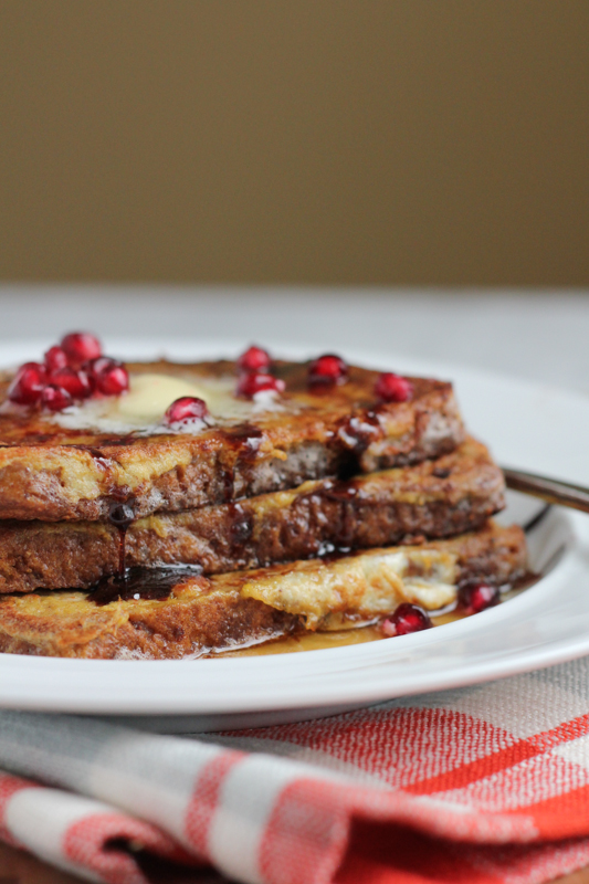 Classic French Toast with Pomegranate Molasses. Take your regular french toast up a notch with this wonderful seasonal twist. #breakfast #brunch #holidays #frenchtoast