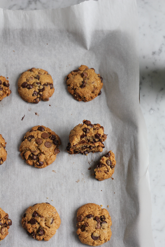 Crispy edges, chewy, chocolatey middles, and so easy to make, these Double Coconut Chocolate Chip cookies are perfection. You've got to try this chocolate chip cookie recipe!!! #cookies