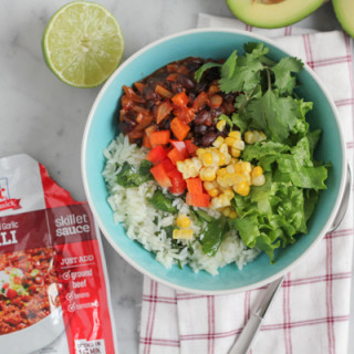Fire Roasted Garlic Chili with Cilantro Lime Rice for #SundaySupper #McSkilletSauce