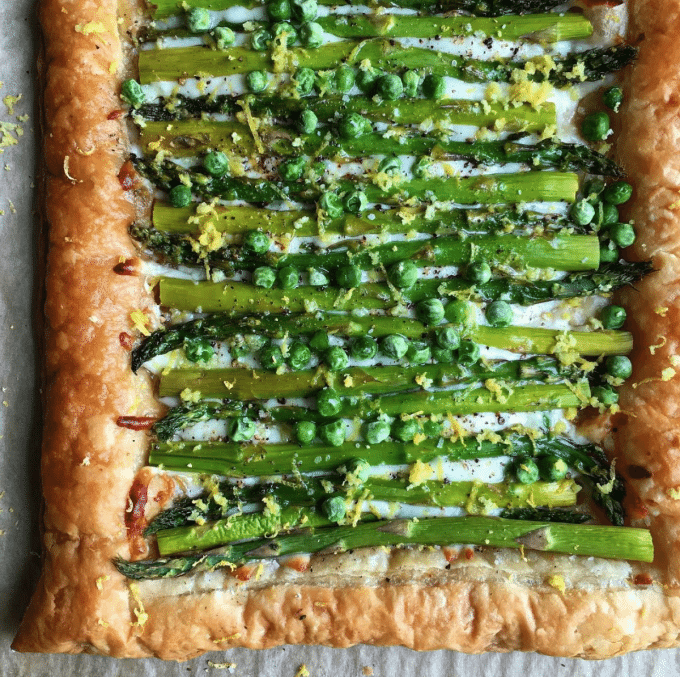 Asparagus Gruyere Tart with peas and lemon zest.