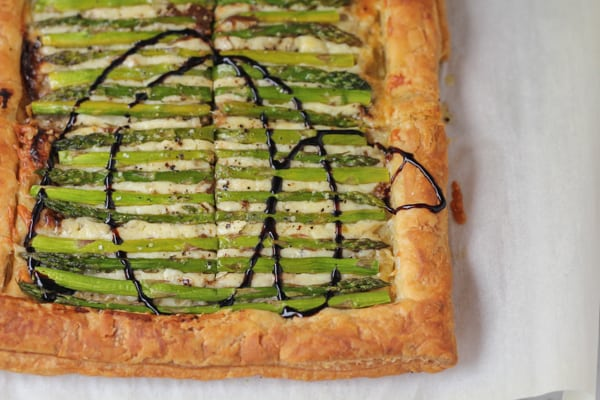 Asparagus Gruyere Tart drizzled with balsamic glaze.