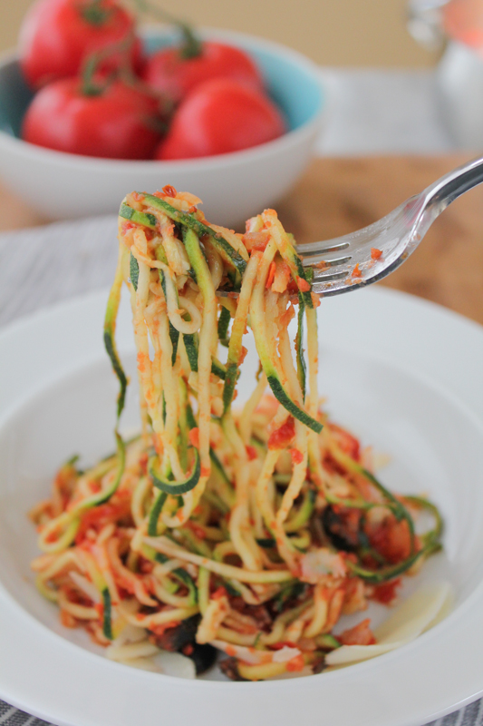 Zucchini Noodles with Puttanesca Sauce .. you won't even miss the pasta!! So delicious and packed with flavor! #zucchininoodles #zoodles #spiralizer #inspiralized #healthy