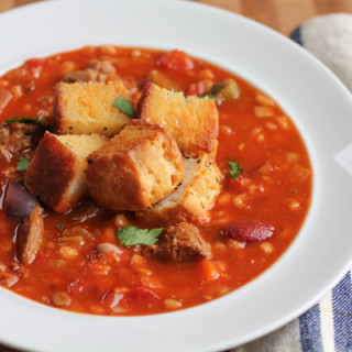 Beef and Barley Stew with Biscuit Croutons