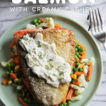 Crispy Skinned Salmon with Creamy Cashew Dressing