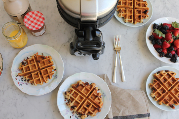 Chocolate Flaxseed Waffles!! A little bit of healthy and a whole lot delicious!! Make these waffles for your next brunch! #BrunchWeek